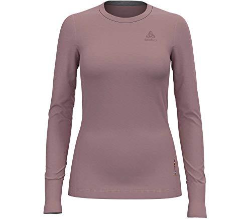 Odlo Damen BL TOP Crew Neck l/s Natural 100% Merino WARM Unterhemd, Woodrose, XL
