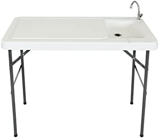 Best Choice Products Portable Cutting Cleaning Table for Fish, Game Hunting w/ Sink, Faucet - Gray