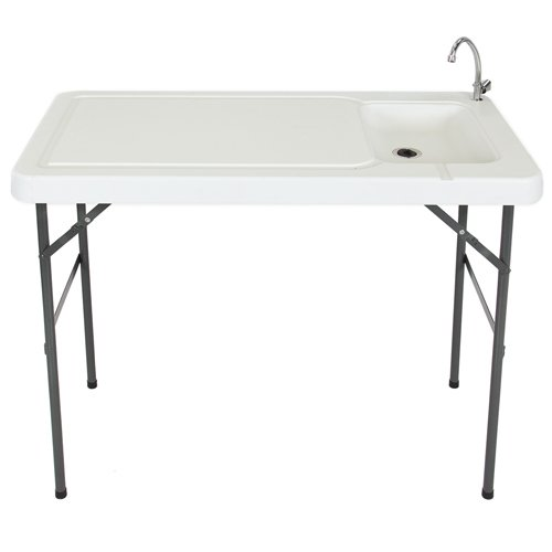 Best Choice Products Portable Outdoor Fish and Game Cutting Cleaning Table w/Sink and Faucet