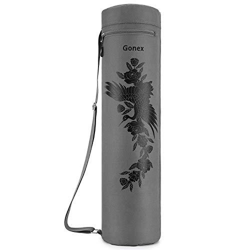 Gonex Yogatasche, Yogamatte Tasche Durchgehender Reißverschluss für robuste wasserdichte Yogamatten-Tragetasche mit verstellbarem Schultergurt, Kran Hellgrau