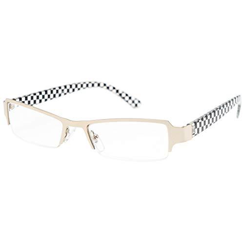 藤田光学 老眼鏡 メンズ 3.0 度数 ナイロール メタルフレーム シルバー CL-15+3.00