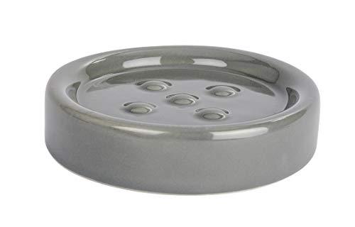 WENKO Seifenablage Polaris Grey Keramik - Seifenschale ideal für Handseife, Keramik, 11 x 2.5 x 11 cm, Grau