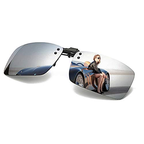 Polarized Clip-on Sunglasses with Flip Up Function Anti-Glare UV 400 Driving Glasses Clip-on for Prescription Glasses (Silver)