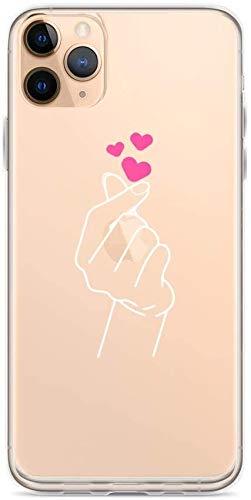 Aupek iPhone Case Pure Clear Case Transparant Zachte TPU Beschermende Cover Koreaanse Vinger Hart Kpop Teen BTS K-Pop Merchandise, iPhone 11 Pro Max