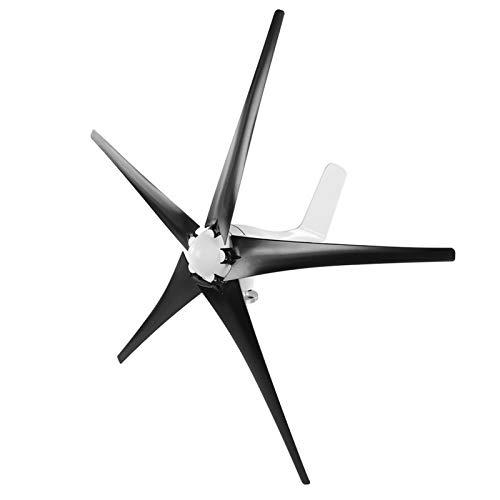 Generador de turbina de viento, generador de molino de viento 1200W Turbina de viento para empresas Controlador de viento de 5 palas Kit de generador de turbina para barcos, terrazas(Black 48V)