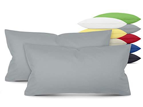 Unifarbene Kissenbezüge im Doppelpack - in 8 Farben und 3 Größen - Moderne Wohndekoration in dezentem Design, ca. 40 x 80 cm, hellgrau