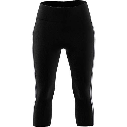 adidas Damen Design 2 Move 3/4-Länge 3-Streifen Tight, Damen, Strumpfhose, Design 2 Move 3/4 Length 3-Stripes Tight, schwarz/weiß, Medium