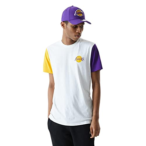 New Era NBA Los Angeles Lakers Color Block - Camiseta para hombre, color blanco, Negro , XS