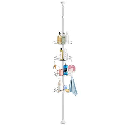 Cocoarm étagère de douche d'angle réglable, 4 niveaux douches en acier inoxydable étagère d'angle étagère de douche crochet télescopique Triangle orga