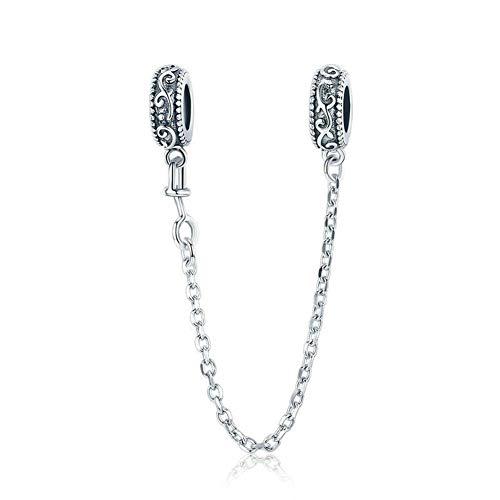 Abalorio de plata de ley 925 con cierre de cadena de seguridad para pulsera Pandora, Todo,