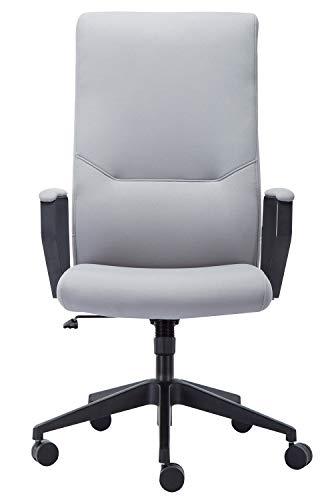 Amoiu Sedia da Ufficio Sedia di Alto Schienale, Poltrona ergonomico, la Sedia di Ecopelle di Alta qualità (e Tessuto), all-in-One Testa e Vita di Supporto Design (Grigio Leggero)