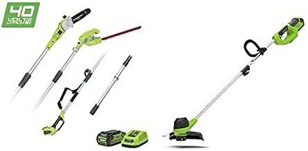 Greenworks Tools Cordless String Trimmer G40LT and Cordless Pruner and Telescopic Hedge Trimmer 2-in-1 G40PSH (Li-Ion 40V ...