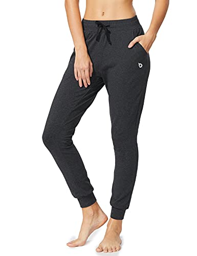 BALEAF Women's Cotton Sweatpants Lightweight Joggers Pants Tapered Active Yoga Lounge Casual Pants with Pockets Charcoal Size S