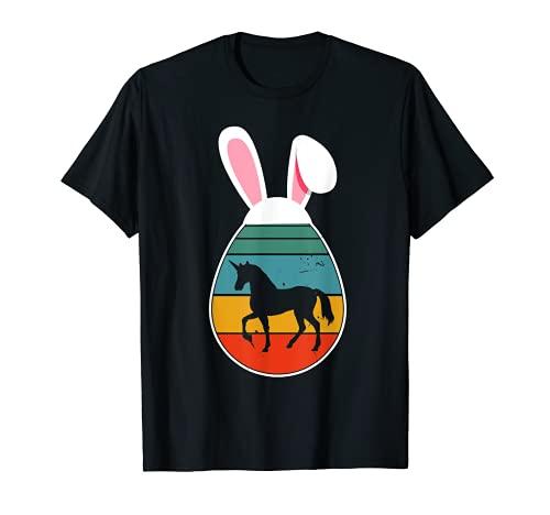 uova di pasqua unicorno Unicorno vintage retrò in uovo di Pasqua coniglietto unicorno amante Maglietta