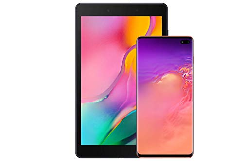 Samsung Galaxy S10+Factory Unlocked Android Cell Phone, US Version, 128GB of Storage, Flamingo Pink with Tab A 8.0' 32 GB WiFi Android 9.0 Pie Tablet Black (2019)
