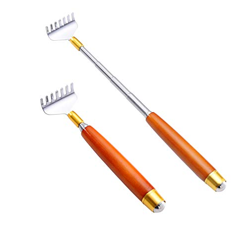 Back Scratchers for Adults Extendable, Metal Backscrathers for Women Men with Wood Handle and...