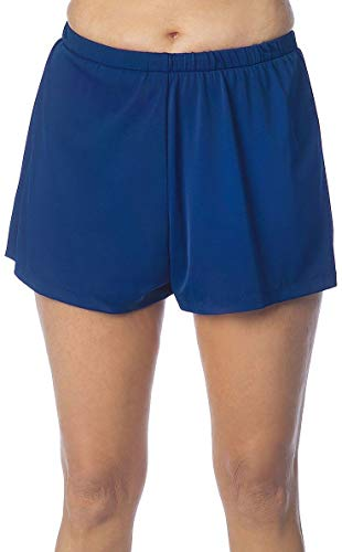 Maxine Of Hollywood Women's 2'' Loose Fit Mid Rise Swim Shorts, Navy, 12