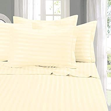 Elegant Comfort Best, Softest, Coziest 6-Piece Sheet Sets! - 1500 Thread Count Egyptian Quality Luxurious Wrinkle Resistant 6-Piece Damask Stripe Bed Sheet Set, King Ivory