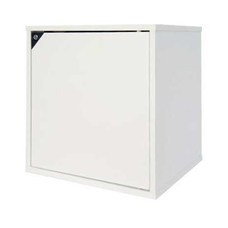 キューブボックスα 鍵付きタイプ【同一カギ】 ホワイト / 鍵付き 収納ボックス 木製 扉付き キューブボックス ロッカー 鍵付きキャビネット ホワイト