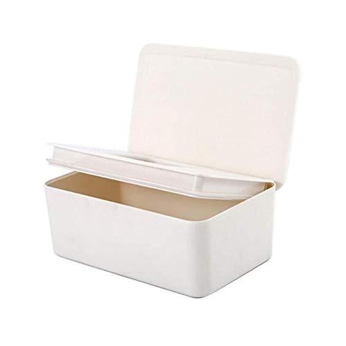 Tissue Box Dry Wet Tissue Paper Case Toallitas de cuidado Servilleta Caja de almacenamiento Contenedor Toallitas para el hogar, Blanco,