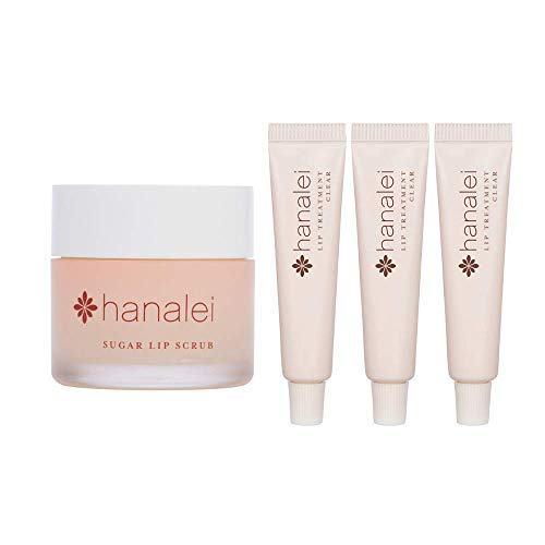 Hanalei Sugar Lip Scrub and Travel-size 3 pack Lip Treatment in Clear Bundle, Made with Raw Cane Sugar and Real Hawaiian Kukui Nut Oil (Cruelty free, Paraben free)
