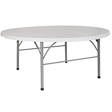 Flash Furniture 72'' Round Bi-Fold Granite White Plastic Folding Table