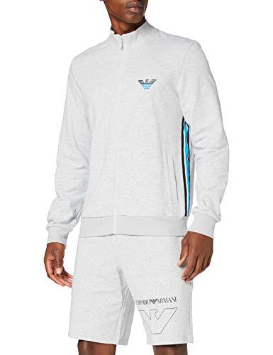 Emporio Armani Underwear Herren Homewear-Iconic Terry Sweater Sweatshirt, Grau (Grigio Melange 00048), Medium (Herstellergröße:M)