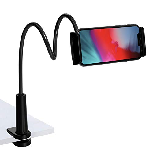 TalkWorks Gooseneck Clip Mount Cell Phone Holder Stand - Flexible Tabletop Clamp for Home & Office on Work Desk, Bed Nightstand, Kitchen Counter - for Apple iPhone, Android for Samsung Galaxy