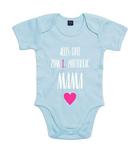 Shirt-Panda Baby-Body Zum 1. Muttertag Für Jungen Und Mädchen Mit Motiv Spruch Alles Gute zum ersten Muttertag Dusty Blue 6-12 Monate