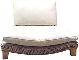 XoticBrands Seagrass Meditation Yoga Chair - Natural with Cream Cushion