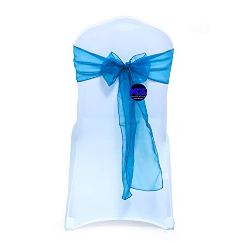 mds Pack of 50 Organza Chair sash Bow Sashes for Wedding and Events Supplies Party Decoration Chair Cover sash -Dark Teal