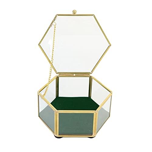 tiantianchaye Caja de cristal dorado vintage con tapa decorativa joyería recuerdo exhibición organizador caja hexagonal anillos pulsera oro organizador para fiesta
