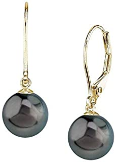 Earrings Pearl coin 10-12mm Dark Blue Sterling Silver Levers  E237