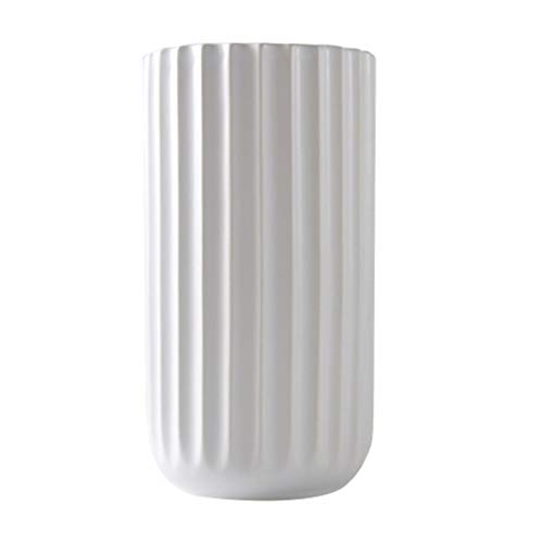 Vase Porzellan H 15/18/22cm, Weiß Blumenvase Deko Handgemachtes Porzellan Ø8/9.5/12.5cm (M)