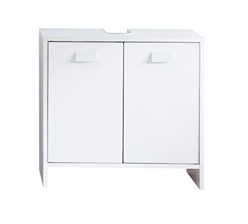 Top Meuble Sous Vasque Sous Lavabo Salle de Bain avec Etagères Blanc 60 x 30 x 56 cm
