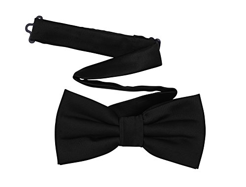 TINYHI Men's Pre-Tied Satin Formal Tuxedo Bowtie Adjustable Length Satin Bow Tie Black One Size