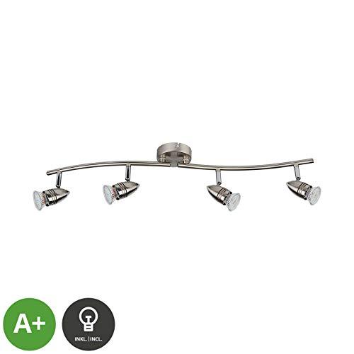ELC LED Deckenlampe, schwenkbar & drehbar, 4 flammig, inkl. 4 x 5W GU10 LED Leuchtmittel, LED Deckenleuchte, Deckenstrahler warmweiss, Metall nickel matt chrom Deckenspot, Spot, Strahler