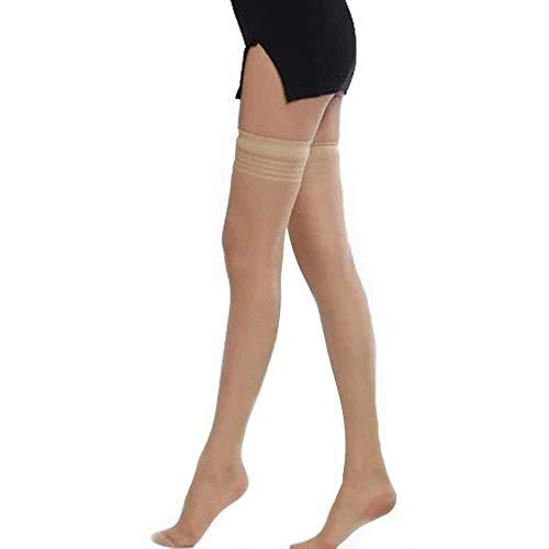 BOLAWOO-77 Medias hasta El Muslo para Damas Medias A La Mode De Marca Raya Muslo Super Elástico Mágicas Altas Calcetines hasta La Rodilla (Color : Nude, Size : One Size)