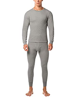 LAPASA Men's Thermal Underwear Long John Set Waffle Knit Base Layer Top and Bottom M60 (Medium, Grey)