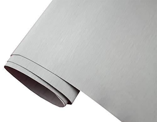 Neoxxim 24,22€/m2 Premium - Auto Folie - GEBÜRSTET Aluminium Silber Brushed 30 x 150 cm - blasenfrei mit Luftkanälen ca. 0,15mm dick
