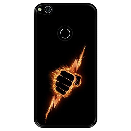 Funda Negra para [ Huawei P8 Lite 2017 - P9 Lite 2017 - Nova Lite ] diseño [ Puño ardiente apretando un Rayo ] Carcasa Silicona Flexible TPU