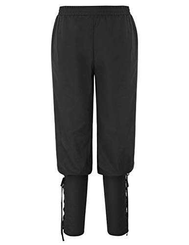 SCARLET DARKNESS Pantalón Hombre Victorien Edad Media Cinturón Elástico Vintage Talla XL Negro