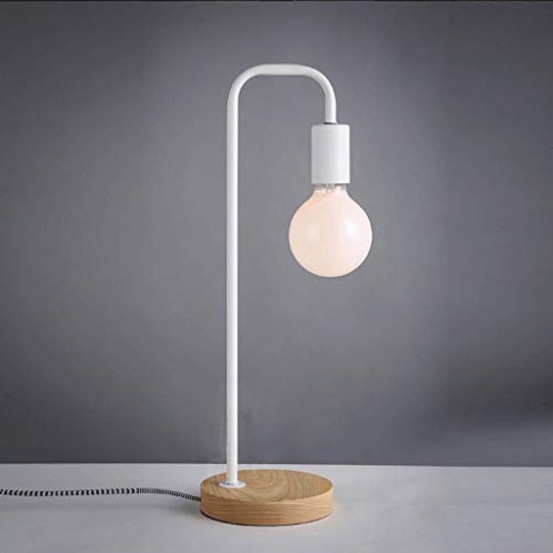Zhang Ying ZY  Arbeit am Leselicht Einfache und Moderne Holzlampe. Schlafzimmer Nachttischlampe Schmiedeeisen Wohnzimmer Studie Schreibtischlampe, schwarz-H47  15CM (Farbe  Wei)