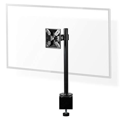 Nedis - Ergonomische Monitorbeugel - Eén Monitor-Arm - Draai- en Kantelbaar - Voor thuis of op kantoor - Tot 24 inch - Tot 10 kg - Zwart