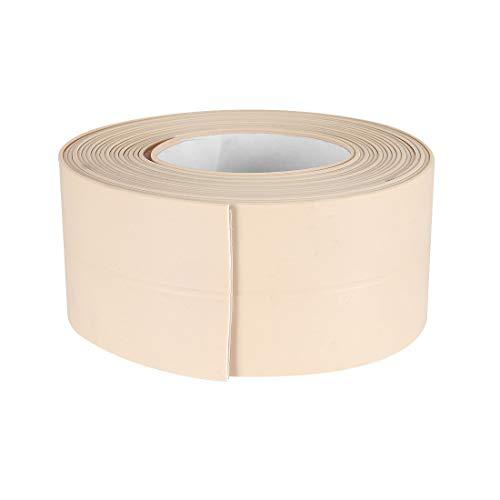 Uxcell Cinta autoadhesiva flexible para baño, inodoro, cocina y sellado de pared de 10,5 pies de longitud, 38 mm de ancho (beige)