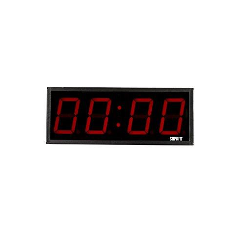 Suprfit Tilrun 4 Intervall Timer - Sporttimer mit 4 Ziffernfeldern, Fitness Timer mit LED Display und 5 Modi, 12 Speicherplätze, inkl. Fernbedienung, Signalton, zur Wandmontage geeignet