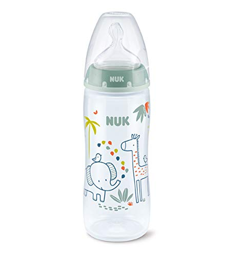 Biberón First Choice+ PP 360 ml (XL) Jungle Animals Verde Silicona NUK 6-18 meses