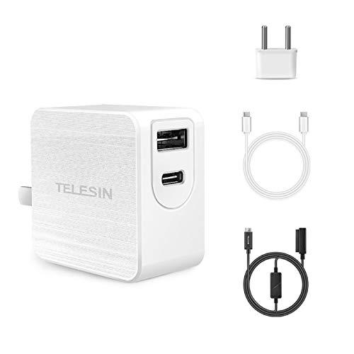TELESIN 65 W USB C Cargador con GAN Tech,2 Puertos PD Cargador Type-C + USB-A Cargador de Pared Compatible con Apple, Huawei, DELL, Lenevo, Switch,dji Mavic (65 W GAN+Cable Type-C+Cable Mavic Air 2)