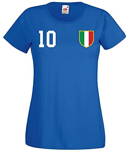 Youth Designz Maglietta da donna Italia con nome e numero a scelta Blu S