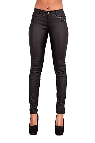 LustyChic Femme Jean Slim Pantalon en Cuir pour Femmes Skinny Stretch Slim,Noir,S